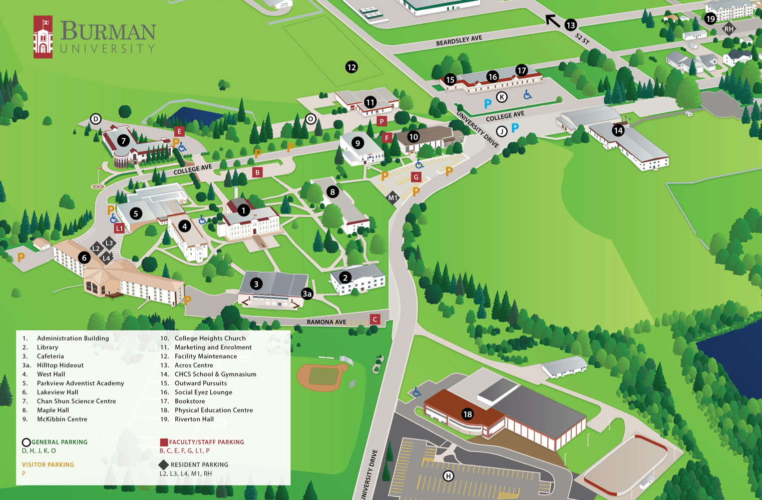 Campus Map Burman University